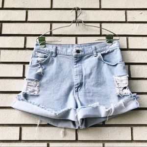 Wrangler High Waist Rolled Distressed Jean Shorts
